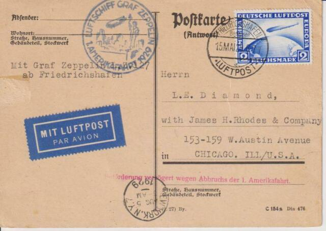 1929-GERMANY-GRAF ZEPPELIN AIR MAIL POSTAL CARD  WITH STAMP MI.423-SEND TO USA