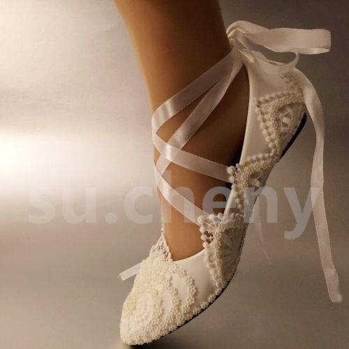 su.cheny White ivory pearls flowers lace ribbon anklet flat Wedding Bridal shoes