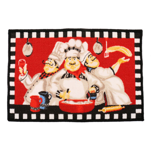 Chef Area Rug Anti-Skid Throw Rugs Runner for Kitchen and Entryway 2 Size Pack