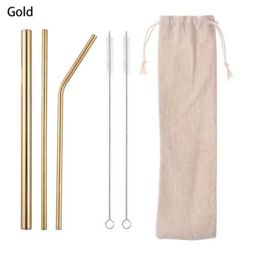 6Pcs Reusable Drinking Straw Stainless Steel Metal Straws Wide w// Brush Bag