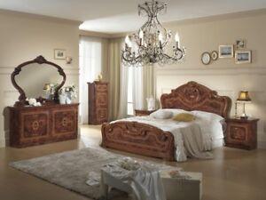 Details zu Schlafzimmer Komplett-Set 6-teilig Nussbaum Hochglanz  Italienische Stil Möbel