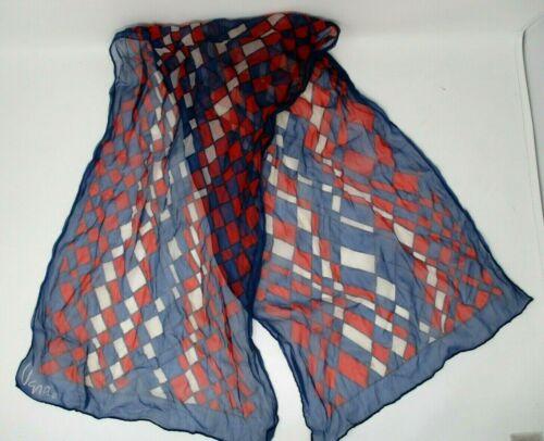 Vintage Vera Neumann Scarf Sheer Red White Blue Ch