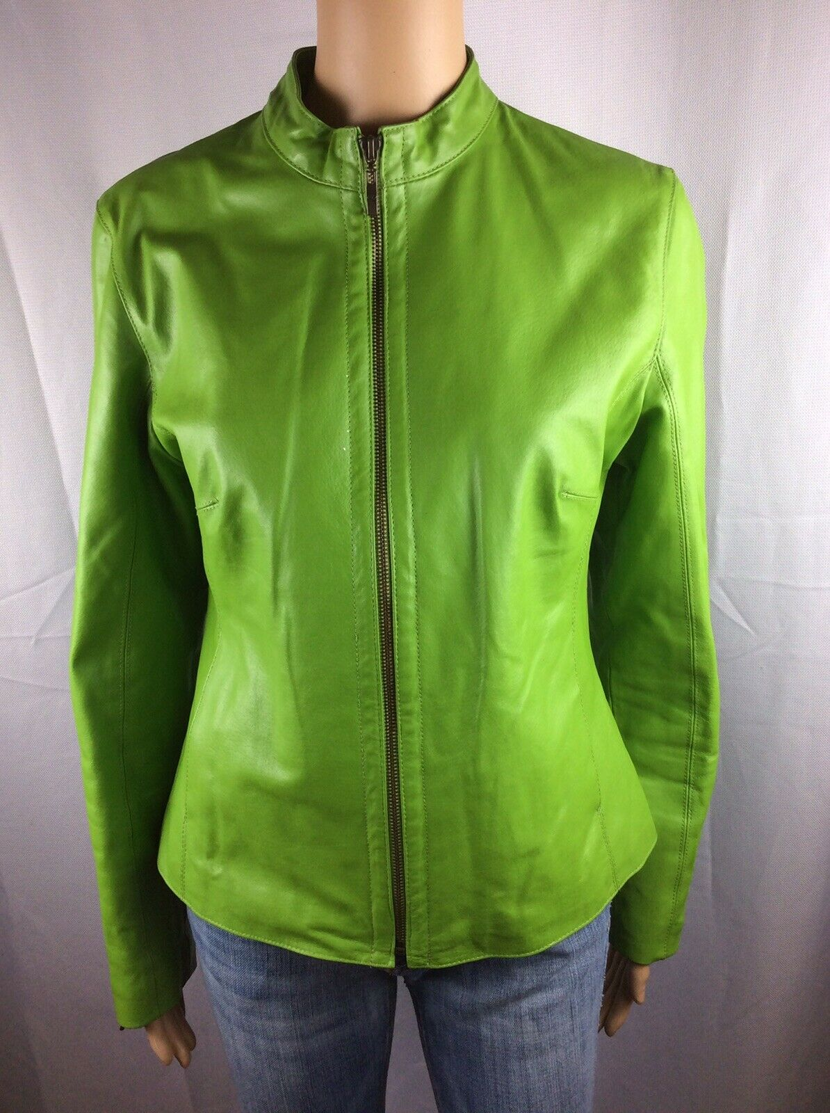 AMI Womans Medium Green 100% Leather Fully Lined Full Zip Coat