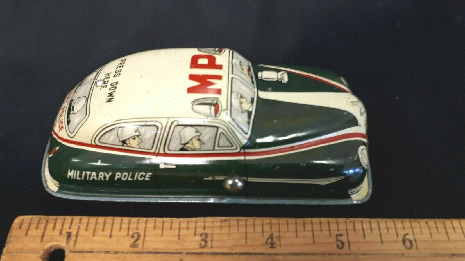 1950's Lithographed Tin Friction MP Police Car - Excellent Condition - (JAPAN)