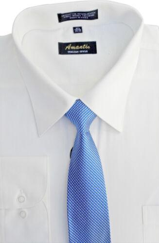 Amanti Hommes Classique Chemise Habillée Cabriolet Manchette Solide Avec Assorti Cravate blanc cassé