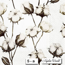 (5-a) TWO Individual Paper Luncheon Decoupage Napkins - COTTON BLOSSOMS BRANCHES