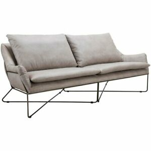 Pleasing Details About Zuo Finn Faux Leather Sofa In Distressed Gray And Black Caraccident5 Cool Chair Designs And Ideas Caraccident5Info