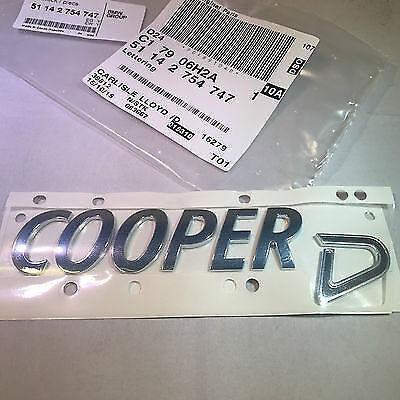 MINI GENUINE REAR BOOT BADGE EMBLEM COOPER D 51142754747 LLOYD
