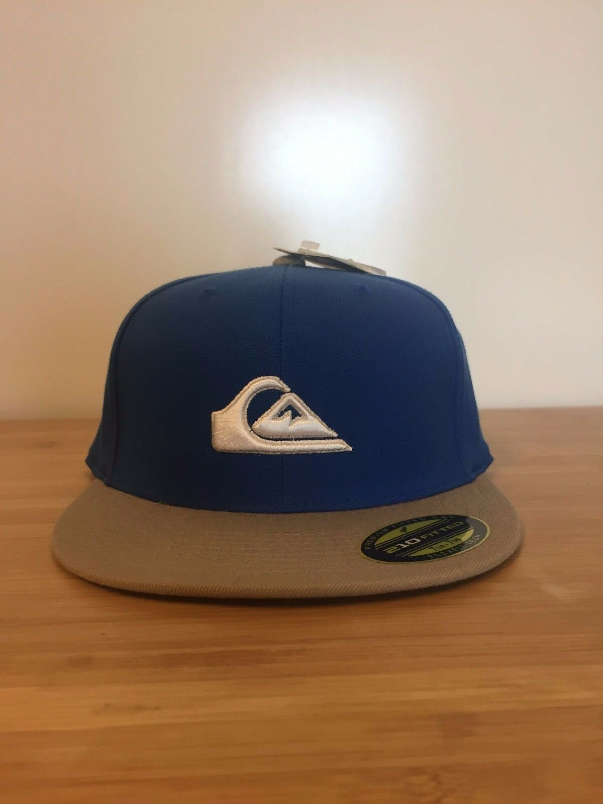 New Blue/Tan Quicksilver Premium Fitted Flat Hat Brim Cap Flexfit Tech Hat Flat 1ed29d
