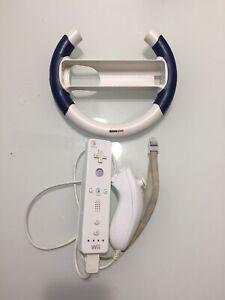 Nintendo Wii Remote Controller Nunchuck w/ Gamestop Wheel Genuine OEM