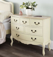 Juliette Shabby Chic Cream 6 Drawer Chest, Assembled French Furniture, Quality