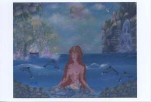 MERMAID ARTISTIC NUDE OCEAN SHORE SEASHELL DOLPHINS WATERFALL MINIATURE PRINT