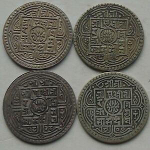 4 x Nepal Silver Mohar of Prithvi Bir Bikram KM#651 C1881-1911 Nice Grades, c)