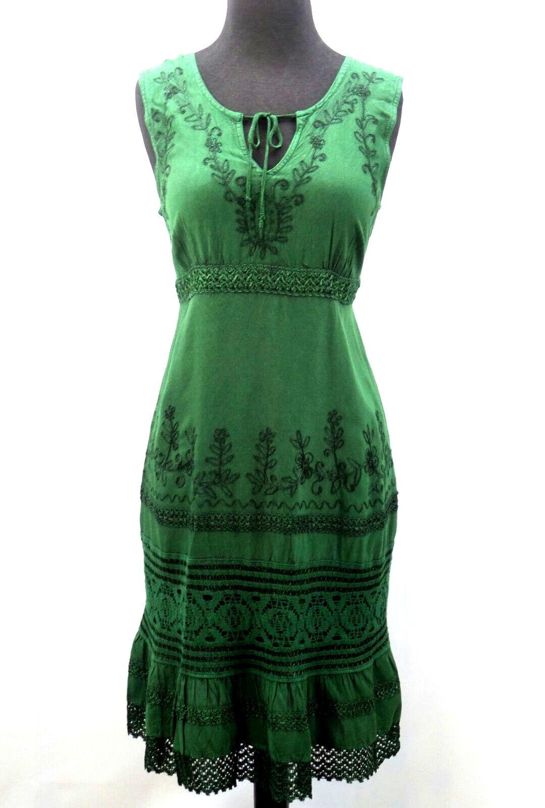 Women's Casual Hippie Sundress Green Floral Empire Waist Boho Summer Dress