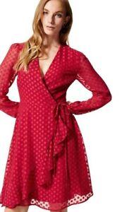 Vestido-de-noche-nuevo-35-Marks-Spencer-M-amp-S-Rojo-Manga-Larga-amp-Envoltura-de-boda