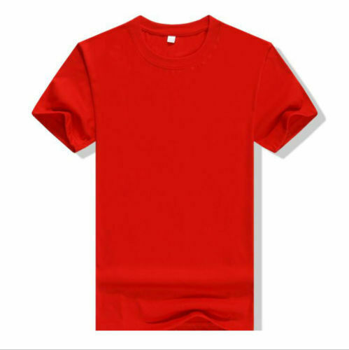 Mens Casual Top Solid Color Short Sleeve T-shirt Crew Neck Tee Basic Gym Cotton