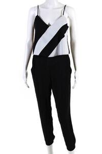 Parker Womens Frida Pants Jumpsuit Black White Size 2 10950122