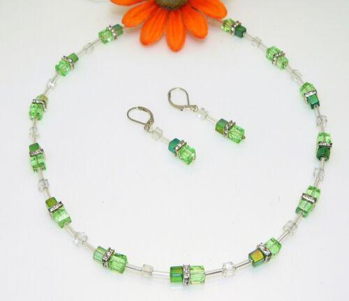 2er Schmuckset Halskette Ohrringe Perlen Glas grün hellgrün Strass 096i