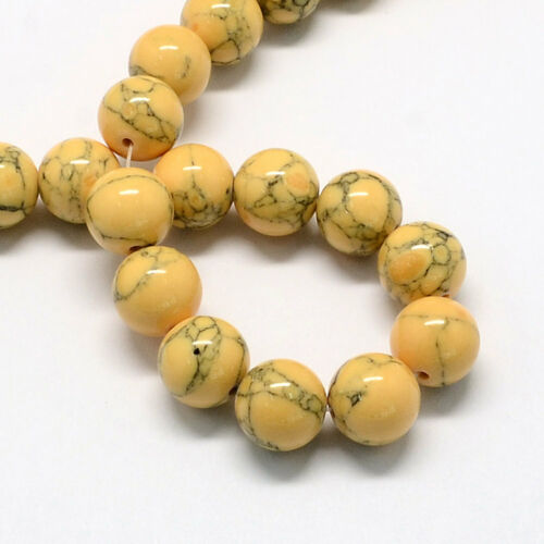 50 Beads 4mm Howlite Dyed Yellow and Black Beads BD998