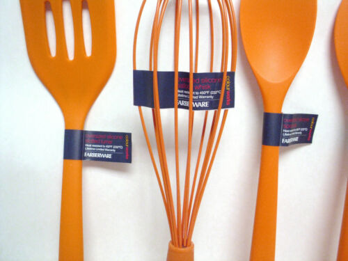 """Details about  /6 Farberware Colourworks 14/"""" Silicone Whisk Turner Spatula Slotted//Basting Spoon"""
