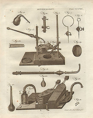 1797 Georgian Print ~ Mineralogy Apparatus Equipment Bellows Strong Resistance To Heat And Hard Wearing Art