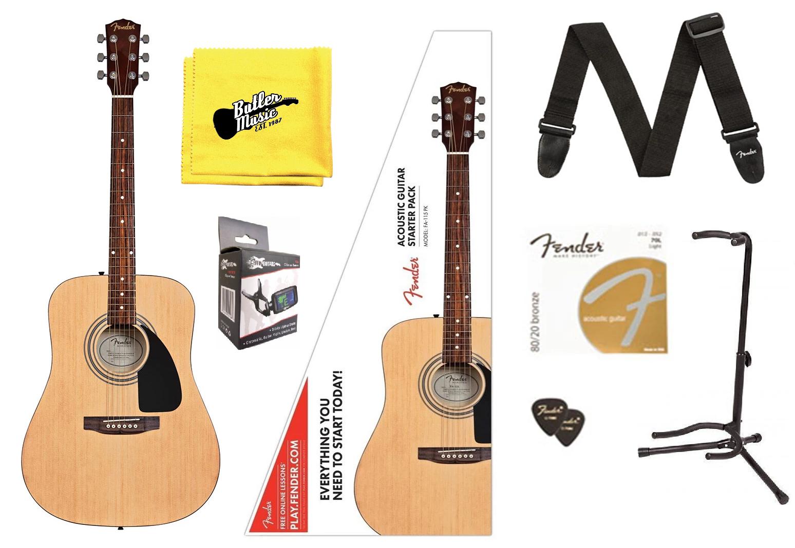 Fender FA-115 Full Größe Dreadnought Spruce Top Acoustic Guitar SUPER Player Pack
