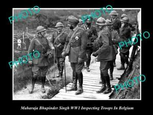 OLD-POSTCARD-SIZE-PHOTO-OF-INDIAN-MAHARAJA-BHUPINDER-SINGH-WITH-TROOPS-IN-WWI