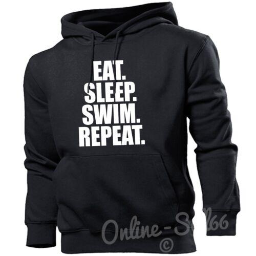 EAT SLEEP SWIM Ripeti Linea Donna Uomo Felpa Con Cappuccio Run Baggy Felpa con cappuccio REGALO sweaterfast GYM