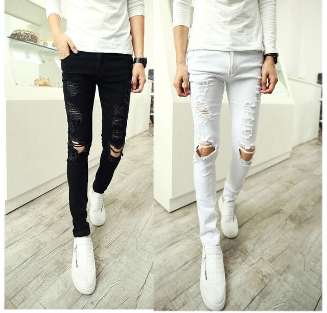 Cool Men's Trendy Ripped Destroyed Mod Sexy Skinny Fit Jeans Pants Slacks M-XXL