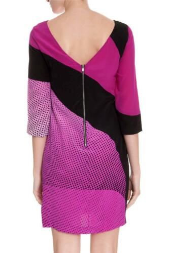 DVF Diane Von Furstenberg SIENNA Printed Silk Dress Speckle Wave Pink Black $445