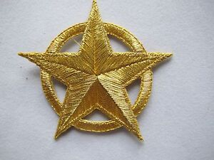 5007-2-1-2-034-Golden-Star-w-Golden-Circle-Ring-Embroidery-Iron-On-Applique-Patch