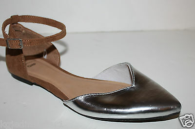 Gap NWT 6 7 8 9 10 Faux Suede & Metallic Silver d'Orsay Flats w/ Ankle Strap