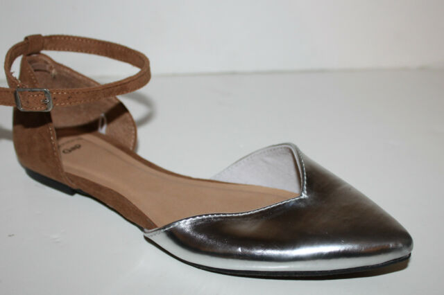 Gap NWT Faux Suede & Metallic Silver d'Orsay Flats w/ Ankle Strap
