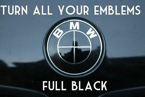 Turn Your Bmw Emblem All Black Bmw Colored Emblem Roundel Overlay Blackout Ebay