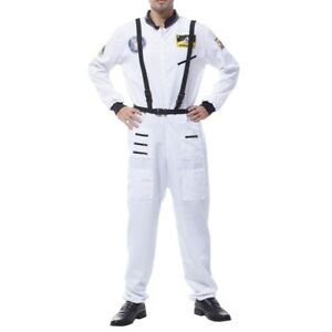 ad143905a2b7 Details about ASTRONAUT JUMPSUIT COSTUME NASA WHITE SHUTTLE SHIP MOON SPACE  SUIT ADULT MENS