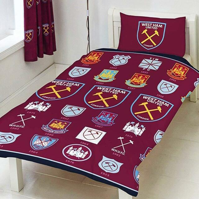 West Ham United Single Duvet Set New Logo Repeat Crest