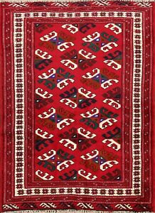 Geometric Bokhara Traditional Area Rug Wool Hand-knotted Oriental Carpet 3x4 RED