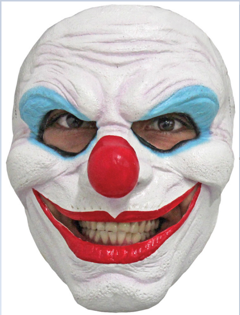 CRAPPY THE EVIL CLOWN SCARY LATEX HALLOWEEN HEAD MASK
