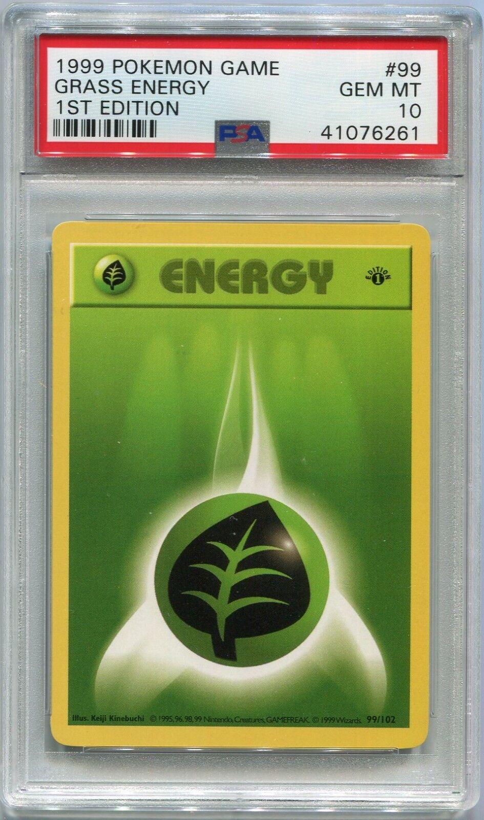 Pokémon - karten shadowless erstausgabe gras energie 'basisbeschreibung '99   102 psa 10 gem minze