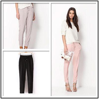 Slim Women's Chiffon Elastic Waist Drawstrings Harem Pants Trousers Candy Color