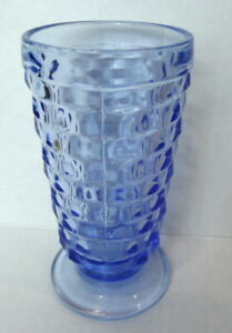 Indiana Colony Cubist  Whitehall Tumbler Glass Ice Blue Footed USA Vintage