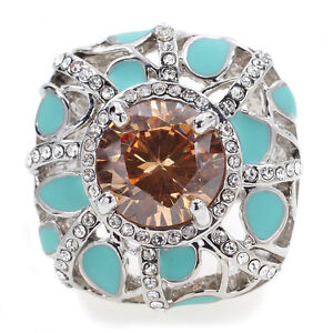 Vintage-Art-Decot-Azury-Alloy-Ring-Austrian-Crystal-Brown-CZ-Size-7-8-9