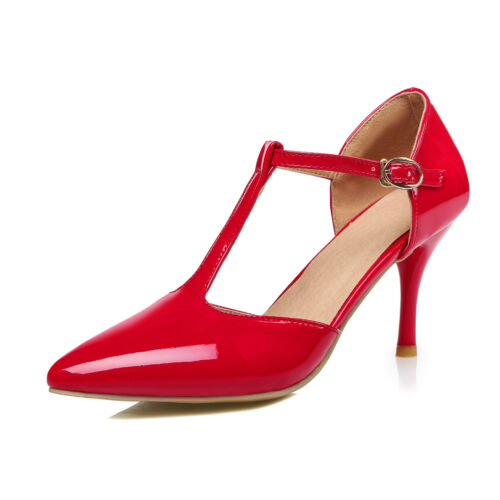 e0fdc69a8 Womens Ankle Strap High Heel T-strap PUMPS Wedding Shoes UK Size 1 12 C168  UK 7.5 euro 42 26 Cm Red