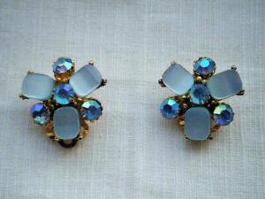 Vintage-pastel-blue-AB-glass-stones-clip-on-earrings-C1950s