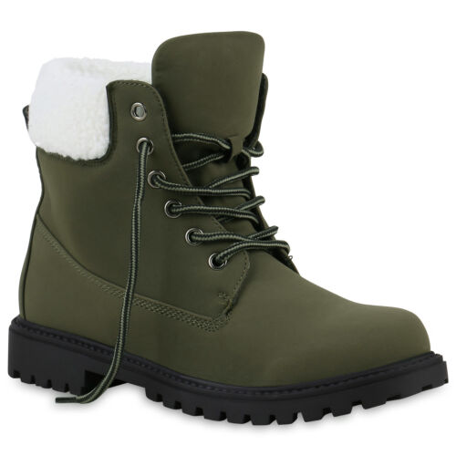 Damen Worker Boots Kunstfell Profilsohle Stiefeletten 812183 Schuhe Top