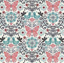 Papillon - Butterflies in the Garden - Eggshell, 100% cotton Fabric
