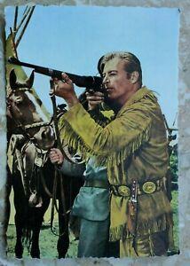 Kino-Film-Postkarte-AK-OLD-SHATTERHAND-1960-70er-Lex-Barker-Gewehr-Karl-May