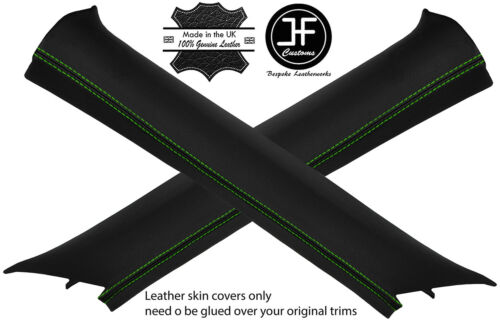 GREEN STITCH 2X A AR REAL LEATHER COVERS FITS VW TIGUAN 20082016