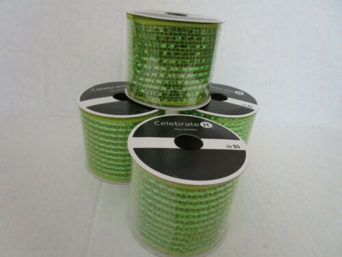 """Celebrate it Wired Ribbon Christmas Light Green 2½/"""" x 12ft New Rolls 4"""