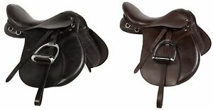 USED-15-16-17-18-BLACK-BROWN-LEATHER-ALL-PURPOSE-ENGLISH-RIDING-HORSE-SADDLE-SET